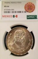 1964 MEXICO SILVER UN PESO NGC MS 66 GREAT TONING HIGH GRADE BEAUTIFUL COIN !!!