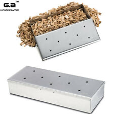 GA Stainless Steel Wood Chip BBQ Smoker Box Case Smoking Outdoor Cooking NEW