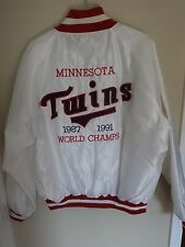 Vintage 1987 & 1991 MLB Minnesota Twins World Champs Satin Coat Men XL Sewn