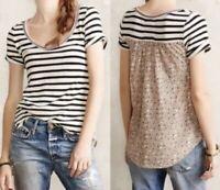 Anthropologie Akemi + Kin Floral Top Small S Stripe Shirt Short Sleeve Navy Blue