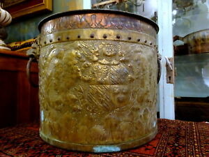 An Antique 18th Century Embossed Brass & Copper Log Bin Coat of Arms Lion handle