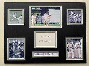"""England Cricket Fred Trueman Signed 16"""" X 12"""" Double Mounted Display"""