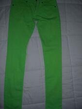 Pantalone jeans MET verde acido tg 30 42 44 cotone nuovo Made in Italy swarovsky