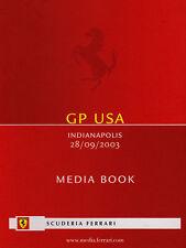 Scuderia Ferrari F1 Media Book United States Grand Prix 2003 Driver Stats & Bios