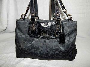 Coach Handbag Purse F15510 Ashley Signature C Black Leather Tote Bag Pleated