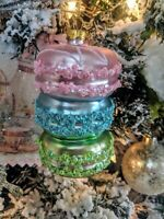 Shabby French Kitchen Chic Macaron Cookies Glass Christmas Ornament Pink Green