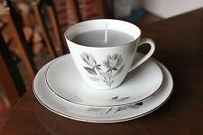 Seltmann Weiden teacup candle trio, grey rose design, grey paraffin wax