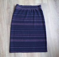 White Stuff Cotton Skirt Navy Blue Striped Size 6 Knee Length Elasticated  Waist
