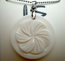 "Hawaiian Buffalo Bone Pendant w/ 18kgp Metal Ball Chain Necklace 18"" # 50060"
