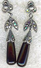 """925 Sterling Silver Black Onyx & Marcasite Drop / Dangle Earrings L38mm (1.1/2"""")"""