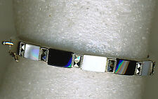925 Sterling Silver White Mother of Pearl, Black Onyx & Marcasite HInged Bangle