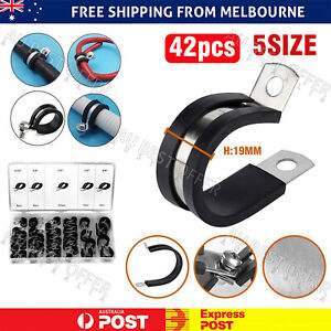42pcs Rubber Lined P Clips Cable Hose Pipe Clamps Holder Air Clip Clamp AU