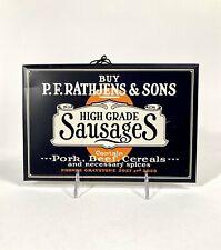 Antique P.F. Rathjens Sausage Metal Advertising Sign, American Art Works