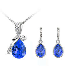 Dark Blue Angel Tear & Bow Evening Jewellery Set Drop Earrings & Necklace S710