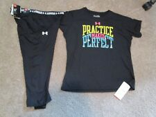NEW Girls UNDER ARMOUR 2pc OUTFIT Black Capri UPF 30+GRAPHIC TOP+ YXL FREE SHIP