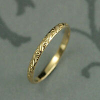 14k Yellow Gold Over 925 Sterling Silver Vintage Style Wedding Womens Band