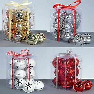 Premier 12 Pack Snowflake 40mm Jingle Bell Baubles - Red Gold Silver or White
