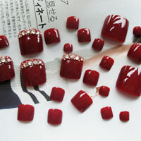 24PCS Glitter False Toe Nail Acrylic Full Finished Fake Nails Sticker Tips Decor