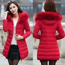 2017 Fashion Winter Women Down Cotton Parka Long Fur Collar Hooded Coat Jacket