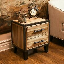 Natural Stained Solid Wood Two Drawer Nightstand