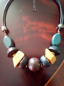 Wooden Mix Shaped Bead  Cotton Cord Necklace green black yellow brown