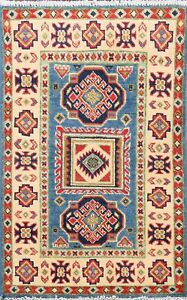 Geometric Super Kazak Traditional Oriental Area Rug Hand-Knotted 2x3 ft Carpet