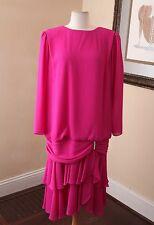 Vtg 80s Ursula of Switzerland Pink Drop Waist Ruffle Formal Party Prom Dress 14W