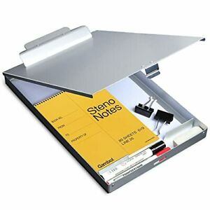 Metal Clipboard with Storage Letter Size Form Holder Portfolio Aluminum Metal...