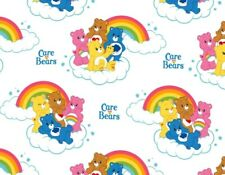 CARE BEARS  RAINBOW IN CLOUDS ON WHITE GRUMPY FUNSHINE COTTON FABRIC BY THE YARD