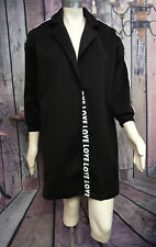 Black Single Button Poly & Spandex Open Front Love logo Jacket Sz XL Lovely!