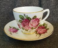 Bone China Teacup & Saucer Set, Floral Roses, Gold Trim