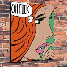 """Pop Art """"Oh Fu*k"""" Roy Lichtenstein Printed Canvas Picture  A1.30""""x20"""" 30mm Deep"""