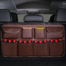 1x Coffee Leather Car Back Seat Organiser Travel Storage Bag Organizer Pocket