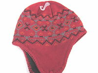 DORFMAN PACIFIC PERUVIAN FLEECED LINED TWISTED TASSELS KNIT HAT, RED, NEW