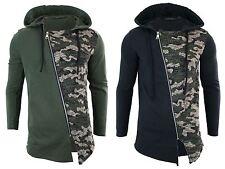 Mens Long Length Cross Zip Longline Camo Top Cardigan Jacket Slim Fit Hoodie
