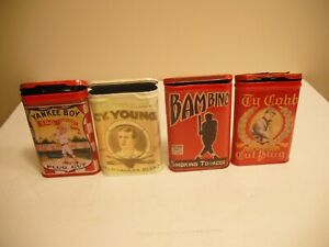 babe ruth, ty cobb, cy young, yankee boy tobacco tins, all REPLICAS, pick any 2
