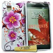 Accessory Master Silicone Case for LG Optimus G E973 Fancy Flowers Purple