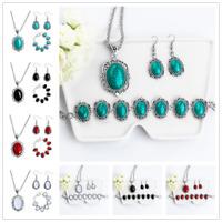 Fashion Women Turquoise Pendant Retro Necklace Hook Earring Bracelet Jewelry Set