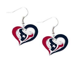 Houston Texans Football Team NFL Heart Swirl Charm Silver Dangle Earrings Set