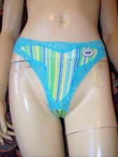 NWT Rene Rofe Knit Cotton Gusset Striped Thong Panties Lingerie 6/M