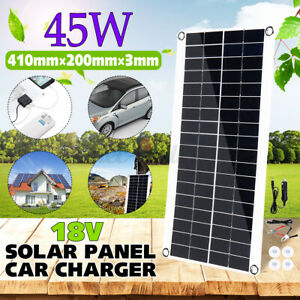 45W 18V Solar Panel Dual USB Port Outdoor Camping Traveling Battery Charger