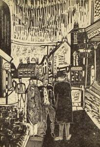 David Mew antique 'Howl at the Moon, Swindon' wood engraving 1964