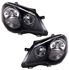 BLACK finish headlight SET for VW POLO 9N3 05-09 GTI with servo motor