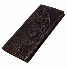 Wallet Dragon Itslife Cow Genuine Leather Men's 3D Embossing Travel Purse Brown