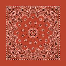 "New 22"" Terra Cotta Paisley Bandana Handkerchief Scarf 100% Cotton Made In USA"