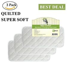 "Superior Quilted Bamboo Changing Pad Liners Reusable Waterproof 3 Pack 26""x12.5"""