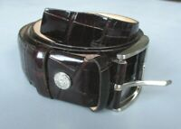 ASPINALS LONDON MOC-CROCODILE LEATHER BELT SMALL BROWN AMAZON HIGH-SHINE -  Exce