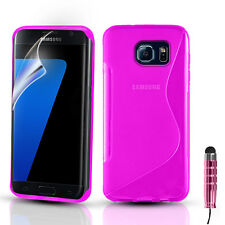 S-Line Silicone Gel Case Cover For Samsung Galaxy S7 S7 Edge & Screen Protector