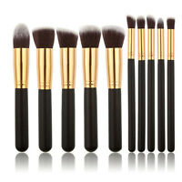 10tlg Pinselset Make up Pinsel Brush Holz Bürste Kosmetik Schminkpinsel-Schwarz