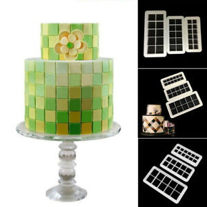 3Pcs Square Geometry Fondant Cookie Cutter Cake Molds Baking Decorating Tools